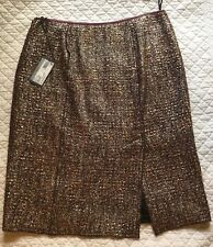 Prada Tweed Silver Metallic Skirt Size 46 NWT $945