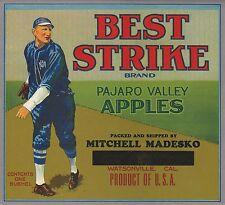 "RARE OLD ORIGINAL 1920 ""BEST STRIKE BRAND"" APPLE CRATE LABEL ART WATSONVILLE CA"