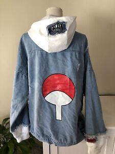 Naruto Shippuden Denim Hoodie Jacket. Anime Sweatshirt Cosplay Jeans Clothes 3XL