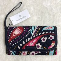 NWT Vera Bradley Women's Trimmed Wristlet Painted Paisley Faux Leather Trim