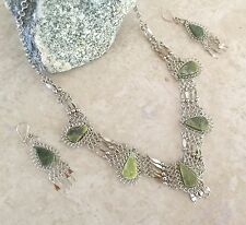 5 Stones Serpentine Alpaca Silver necklace and earrings set