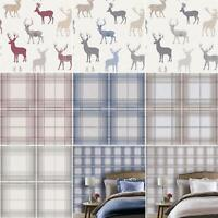 Country Check Stag Tartan Animal Print Wallpaper Woven Effect Blue Red Grey