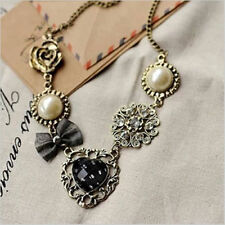 Bow Pearl Flower Sweet Heart Rhinestone Bronze Pendant Necklace Jewelry