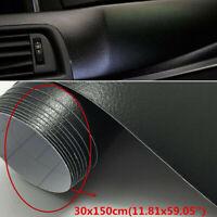 Exterior Car Sticker Black PVC Vinyl Decal Leather 30x150cm Accessories