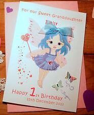 Handmade personalis 18 Compleanno Carta Little Fairy / diverso colore capelli