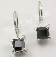 925 Sterling Silver SQUARE BLACK ONYX FASHIONABLE Prong Setting Earrings 0.6""