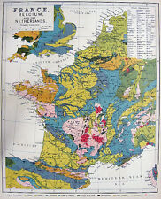 FRANCE BELGIUM NETHERLANDS Holland Switzerland ~ 1882 Art Print Map Engraving