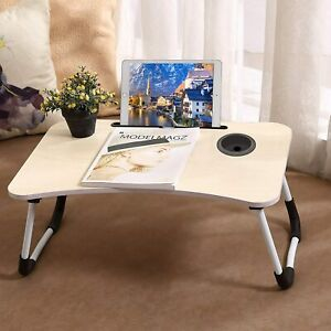 Lap Desk, Foldable Portable Bed Desk for Laptop with Cup Slot and Writing