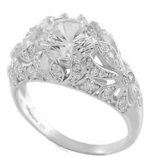 Tw Cz Engagement Ring Size 6 Edwardian Era Inspired 925 Sterling Silver 3.30ct
