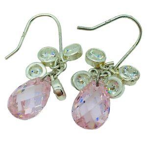 Pink Topaz CZ Earrings Dangle Pierced Hook Sterling Silver 925 Jacmel Mauritius