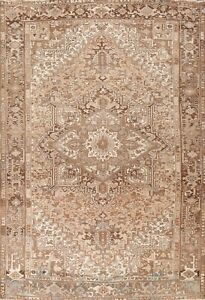 Muted Semi Antique Heriz Hand-knotted Area Rug Wool Oriental Tribal Carpet 8x11