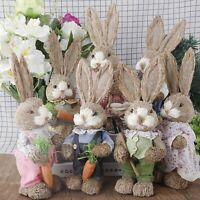 Easter Simulation Bunny Home Garden Decoration Creative Straw Rabbit Ornaments F