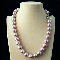Huge 12mm Genuine Purple Shell Pearl Round Beads Necklace 18'' Cultured Real