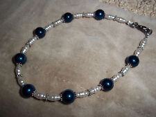 Handmade 10 in BLUE glass, WHITE Pearl and Tibetan Silver Bead Anklet Z-02