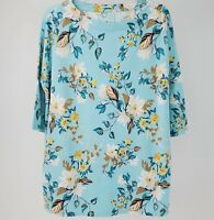 Women's J. Jill Luxe Supima Pleat Back Floral Tunic Top Size Large Petite NEW