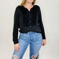 Joie 100% Silk Marru Black Tuxedo Long Sleeve Button Front Blouse Large Womens