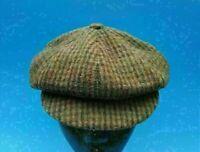 Vintage Berrettificio Plaid Brown Cabby Newsboy Short Bill Hat Cap Made ITALY
