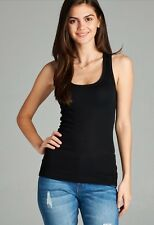 Ribbed Racerback Tank Top Cotton Layering Stretch Womens Tee Shirt Camisole LOT