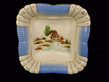 Hand Painted & Enameled 'Old Mill' Winter Scene Bowl – Circa 1890