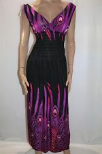 Unbranded Pink Black Peacock Print Sleeveless Maxi Dress Size S-M BNWT #LIN