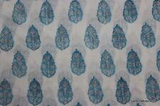 Indigo Blue hand Printed fabric indian cotton one yard fabric Turquoise BMKASQ14