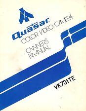 Vintage Original Quasar Model VK731TE Color Video Camera Owners Manual