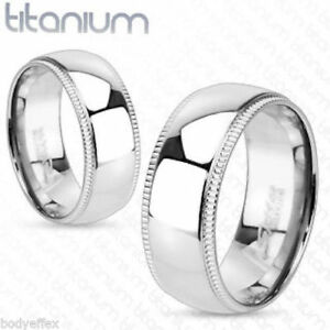 Line Grooved Edge with Dome Center Band Ring Solid Titanium