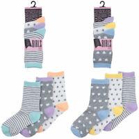 Girls 6 Pairs Stripes & Hearts socks size 9 -12 12-3 4-6 Age 4-Teenage Light Mix