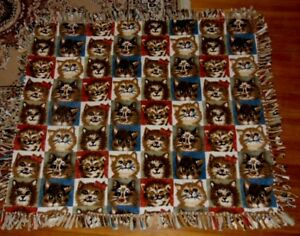 Silly Cat Face Throw Blanket Hand Made
