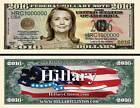HILLARY CLINTON BILLET 1 MILLION DOLLAR US ! Collection Politique Etats Unis USA