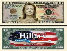 HILLARY CLINTON BILLET 1 MILLION DOLLAR US ! Collection president Etats Unis USA