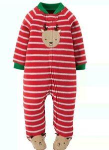 new 6 month Christmas reindeer fuzzy footy sleeper