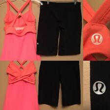 Lululemon SZ 6 Wrap It Up Tank Coral & Black Clam Digger Corp Woman Run LOT OF 2