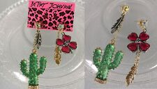 E175 Betsey Johnson Cactus Desert Pink Lucky Shamrock Heart Charm Earrings  UK