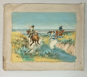 Vintage Oil Western Cowboy Painting Signed Richard  CM Russell Inspired