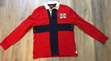 Polo Ralph Lauren Rugby Red Navy Distressed Union Jack NEW NWT $145 L/S Size M