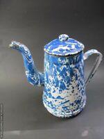 Antique French Enamelware Graniteware Blue Marbleized Teapot Pitcher