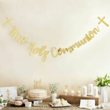 METALLIC GOLD BANNER 1st HOLY COMMUNION DECORATIVE PARTY BANNER 2 METERS