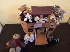 Vintage Nwt Boyds Bears Mrs Noah'S Wood Ark plus 11 Animals Pairs Tiger Bear