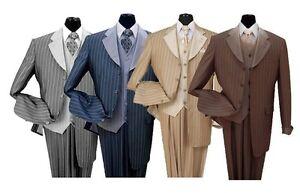 Men's 3 piece Luxurious Classic Gangster Pinstripe Suit Wool Feel 2911v