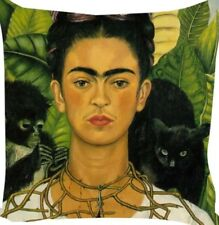 Frida Kahlo Black Cat & Monkey Art Print Cushion With Cotton Linen Cushion Cover