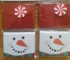 Christmas Gift Card Holder Set of 4 Holiday Boxes Snowman Peppermint Candy New