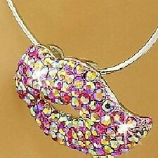 Micro Pave Set Pink AURORA BOREALIS Cz Crystal LIPS Slide Pendant KISS Necklace