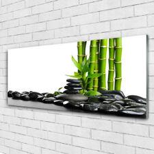 Glasbilder Wandbild Druck auf Glas 125x50 Bambus Steine Kunst
