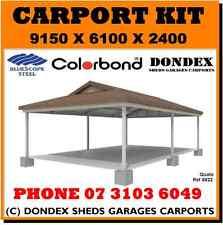 DONDEX Dutch Gable Carport Kit 9.15x6.0x2.4 Colorbond Roof Facia Gutters Barge