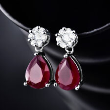 Dangle Pear Ruby Red Crystal Silver Gold Filled Women Lady Jewelry Stud Earrings