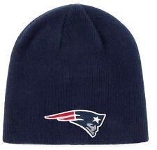 New England Patriots NFL Basic Navy w/ Logo Cuffless Knit Hat Cap Winter Beanie