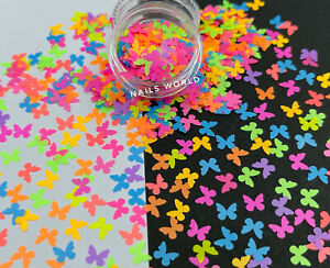 NEW! BUTTERFLY Neon Nail Art Glitter 12Colours Sequins Decoration Summer Holiday