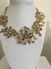 $49.99 Ann Taylor Gold Tone Crystal Flower Statement Necklace #214