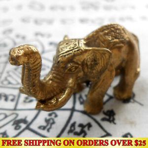 Lucky Elephant Hunting Money Life Protection Magic Thai Amulet Talismans Brass